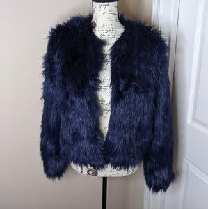 Navy Blue Faux Fur Medium Forever 21 Jacket (EUC)